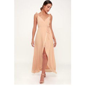 LULUS Here's to Us High/Low Wrap Evening Dress